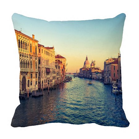 PHFZK Beautiful Italy Cityscape Pillow Case, Grand Canal in Venice Italy Sunset Time Pillowcase Throw Pillow Cushion Cover Two Sides Size 18x18