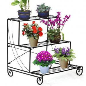 Plain Holder - 3 TIER Metal Shelves Flower Pot Plant Stand Display Indoor Outdoor Garden Planter Holder Flower Pot Shelf Rack Black