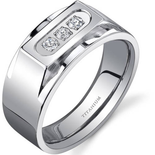 Oravo Men's 3-Stone Titanium Ring, 10mm