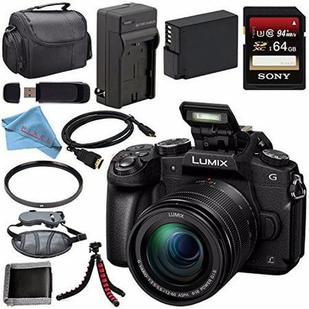 Panasonic Lumix DMC-G85 DMC-G85MK Mirrorless Camera with 12-60mm Lens + DMW-BLC12 Battery + Charger + Sony 64GB SDXC Card + HDMI Cable + Carrying Case + Memory Card Wallet + (Panasonic Lumix Dmc Series)