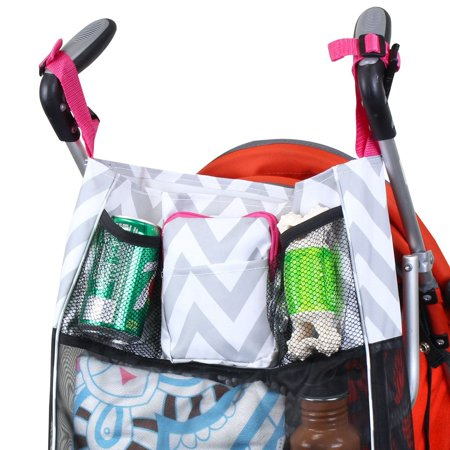 Zodaca Baby Cart Strollers Bag Buggy Pushchair Organizer Basket Storage Bag for Walk Shopping - Gray/Black Anchors - image 2 de 4