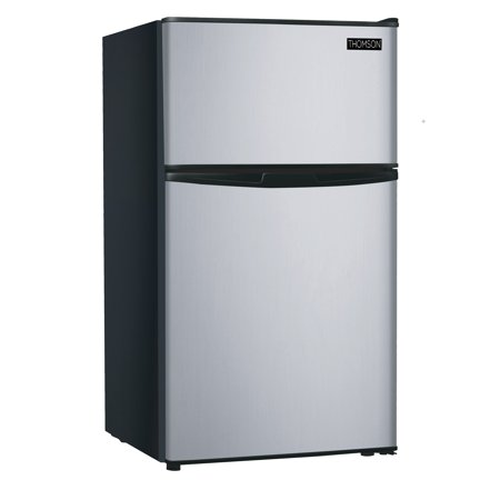 RCA 3.2 Cu Ft Two Door Mini Fridge with Freezer RFR834, Stainless