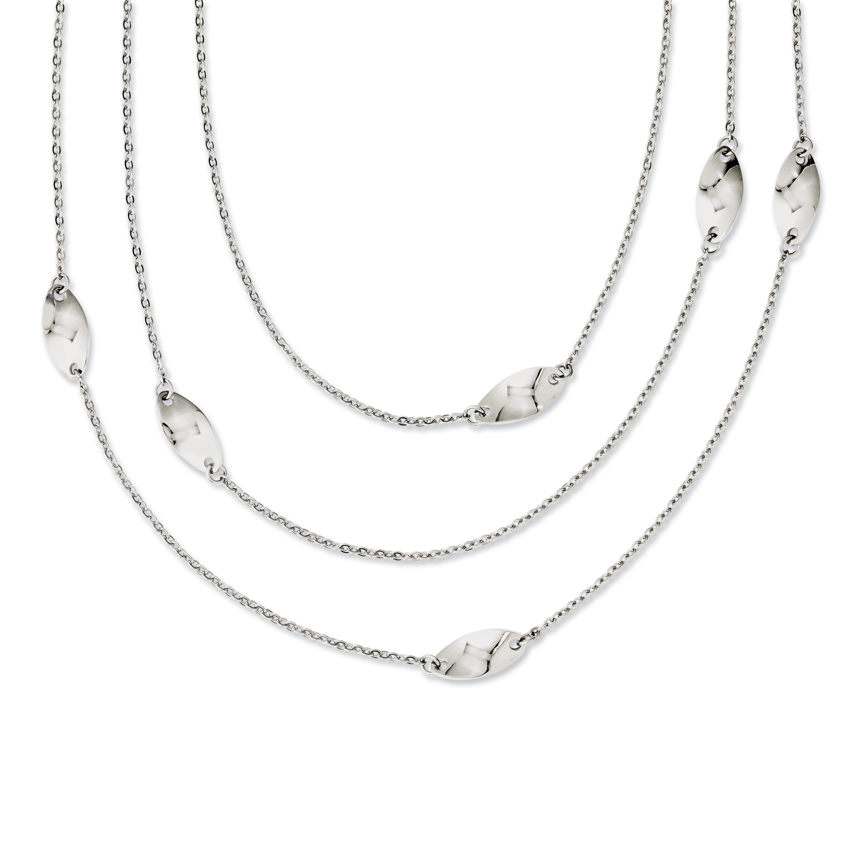 Stainless Steel Multi Chain with Polished Swirl Layered Slip-on Necklace SRN1164