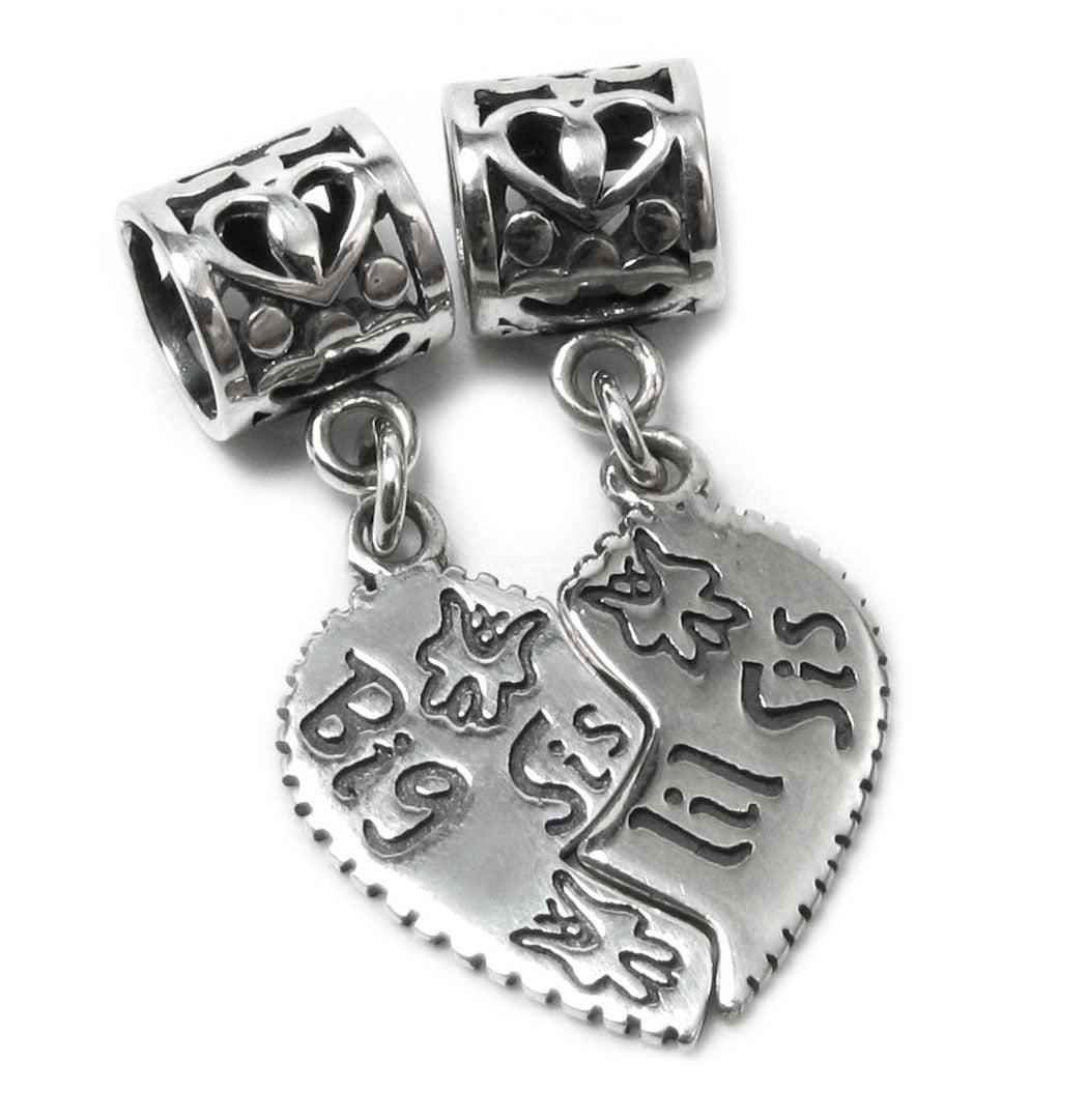 Carrier Bead Sis Heart 925 Sterling Silver Dangle Charm Little Sister