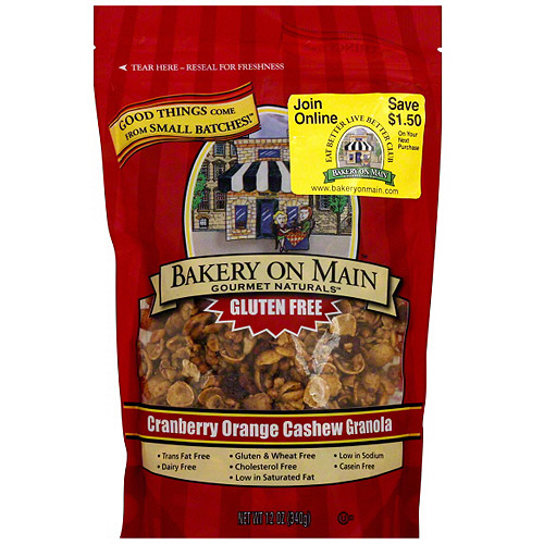 Bakery On Main Gourmet Naturals Cranberry Orange Cashew Granola, 12 oz (Pack of 6)