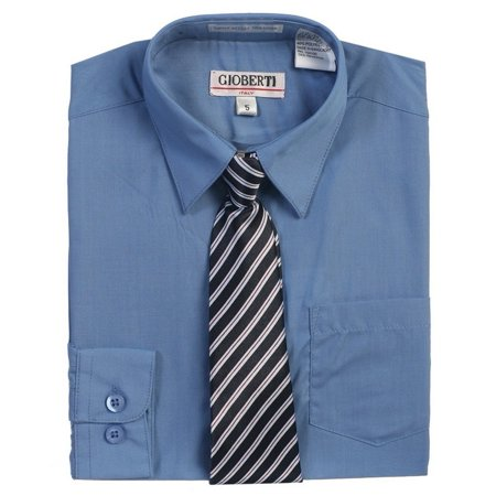Dark Blue Button Up Dress Shirt Striped Tie Set Boys 7 - Dream Date Dress Up Boy Style