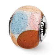 Sterling Silver Reflections Brown/Blue/Pink/Orange w/Glitter Glass Bead