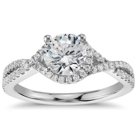 1 Carat Round Cut Real Diamond Infinity Engagement Ring in 14k White Gold
