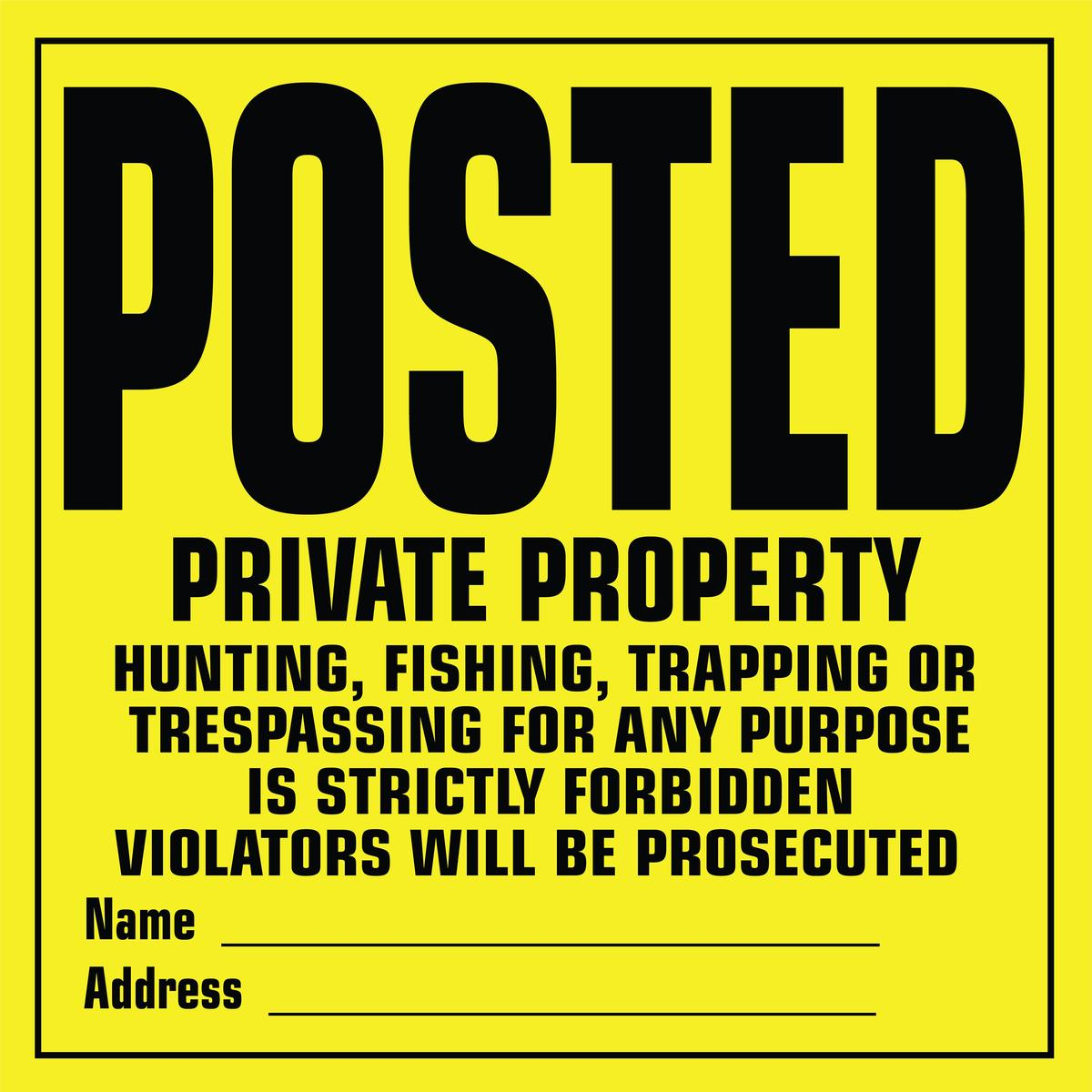 Yukon Gear Private Property Posted Hunting Signs 12 ct Pack