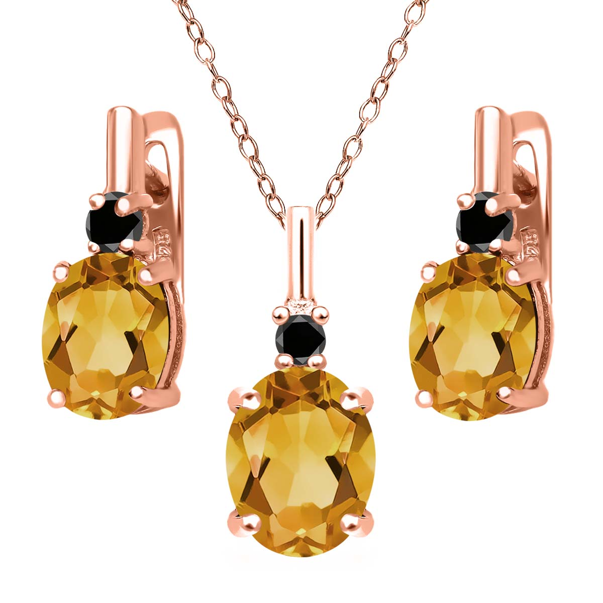 3.52 Ct Yellow Citrine Black Diamond 18K Rose Gold Plated Silver Pendant Earrings Set by