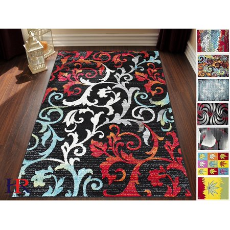 Image of Handcraft Rugs-Turquoise/Ivory/Orange/Red/Black -Faded, Allover Floral Distressed Area Rug Swirls Area Rug Abstract, Floral-(8x10 feet)