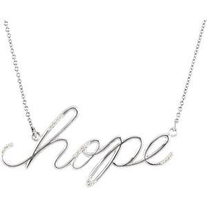 "Hope Diamond Necklace - 14K White 0.08 CTW Diamond Hope 16.8"" Necklace"