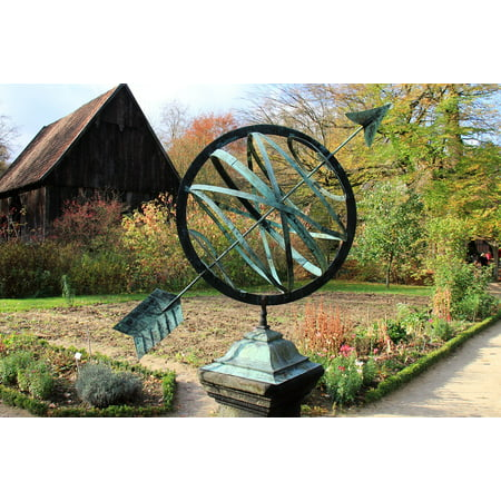 Canvas Print Garden Clock Arrow Sundial Stretched Canvas 10 x 14