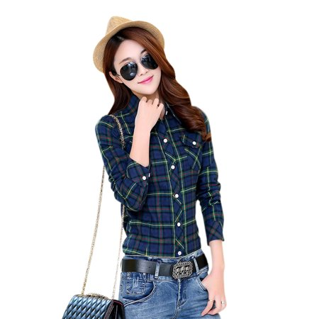 Autumn Flannel Autumn Flannel (Women Flannel Plaid Shirt Spring Autumn Casual Long Sleeve Shirt Female Slim Fit Cotton)