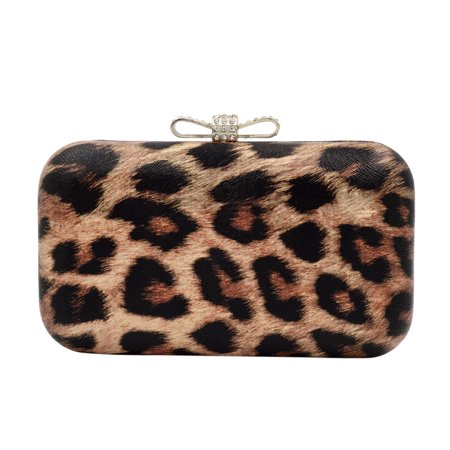 Elegant Leopard PU Leather Crystal Bow Top Hard (Bow Front Clutch)
