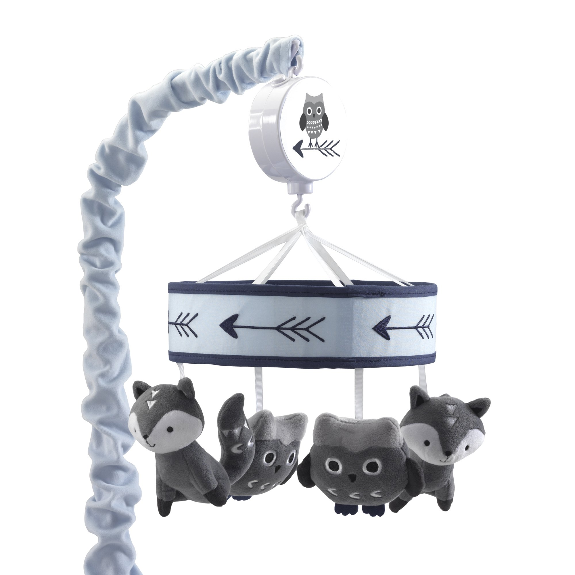 Lambs & Ivy Stay Wild Blue/Gray Fox & Owl Musical Baby Crib Mobile