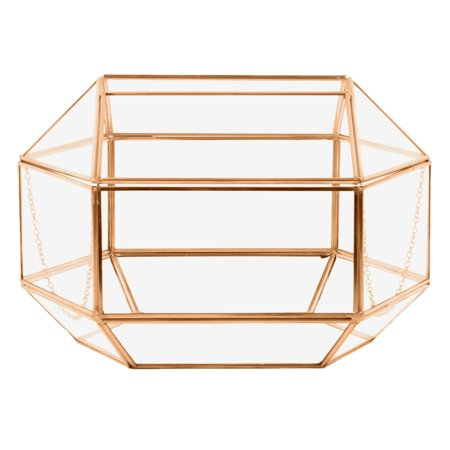 Koyal Wholesale Geometric Glass Wedding Card Box, Rose Gold Wedding Reception Drop Box, Terrarium Glass Planter