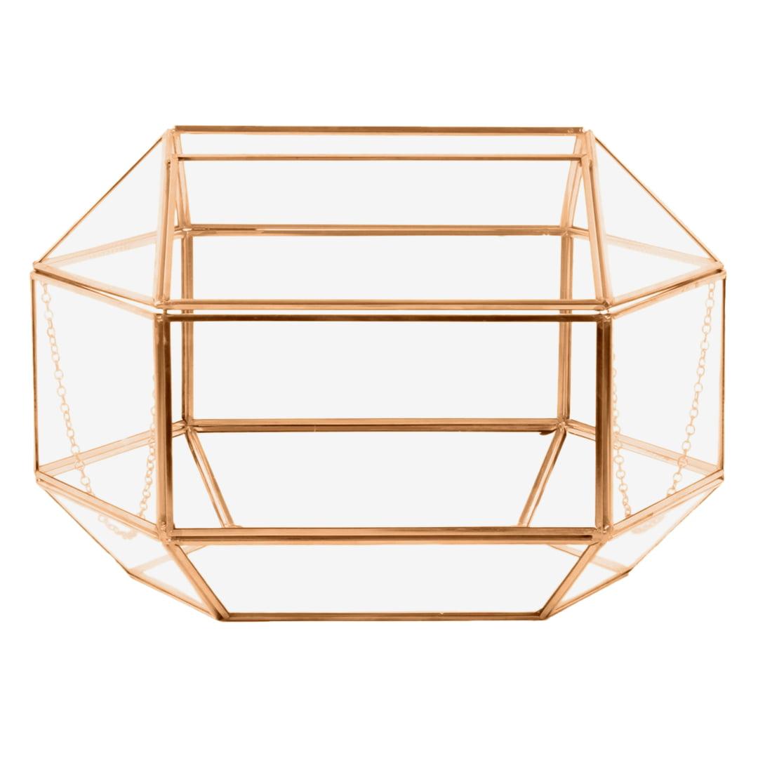 Koyal Wholesale Geometric Glass Wedding Card Box, Rose Gold Wedding Reception Drop Box, Terrarium Glass Planter