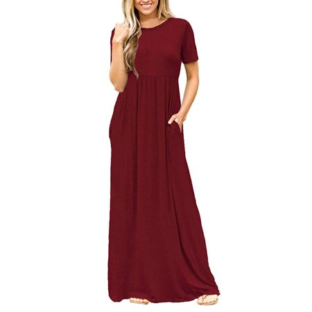 Women Boho Casual Plain Short Sleeve O-neck Loose Solid Party Long Beach Dresses Oversized Maxi (Long Sheer Maxi Dress)