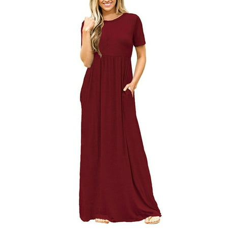 c0f056a02fb Women Boho Casual Plain Short Sleeve O-neck Loose Solid Party Long Beach  Dresses Oversized Maxi