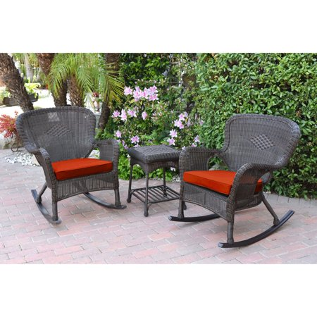 Jeco Windsor Resin Wicker 3 Piece Patio Rocker Conversation (3 Piece Resin Wicker)