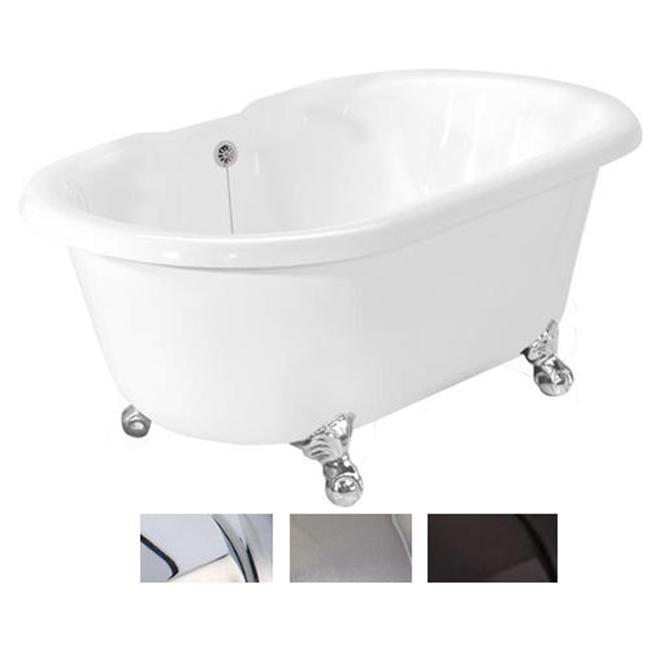 American Bath T080A-OB Celine Bathtub no Faucet Holes- White