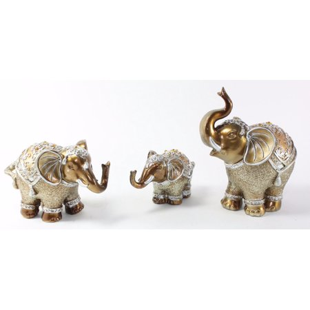 Set of 3 Gold Brass Feng Shui Elegant Indian Elephant Family Trunk Statues Wealth Lucky Figurine Home Decor Housewarming