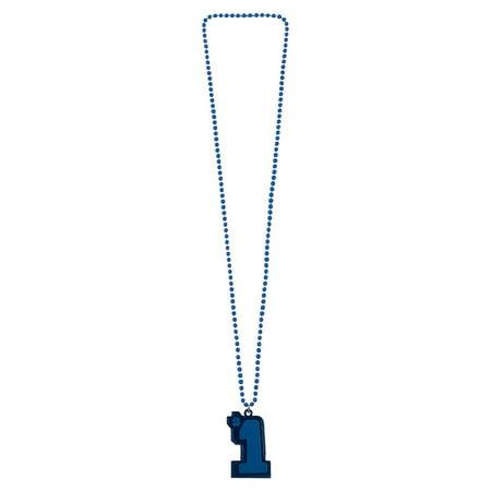 Fun Express - #1 Blue Beaded Necklace - Jewelry - Mardi Gras Beads - Mot Shaped - 12 Pieces (Oriental Trading Company Mardi Gras)