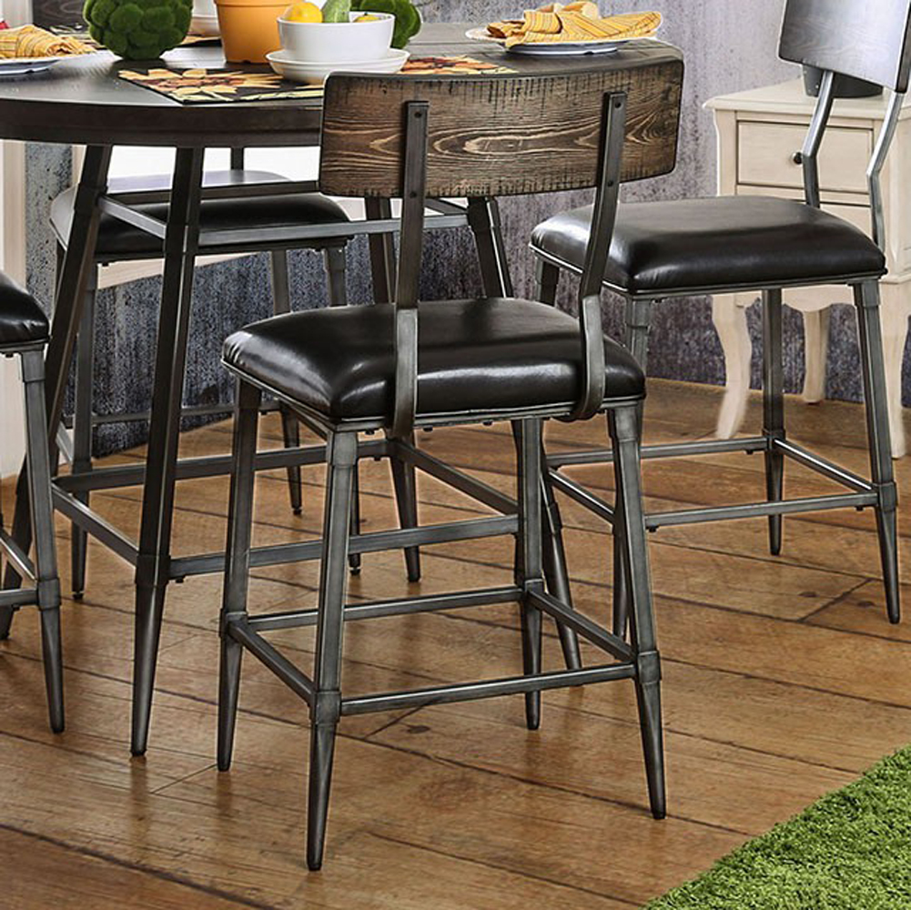 Mullane Industrial Counter Height Chair, Gray, Set Of Two