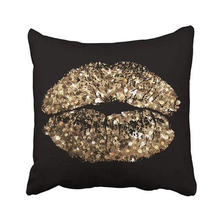 WOPOP Black Glam Of Kiss With Gold Shimmer Sequin Makeup Bling Glitter Champagne Sexy Disco Pillowcase Cover 18x18 inch