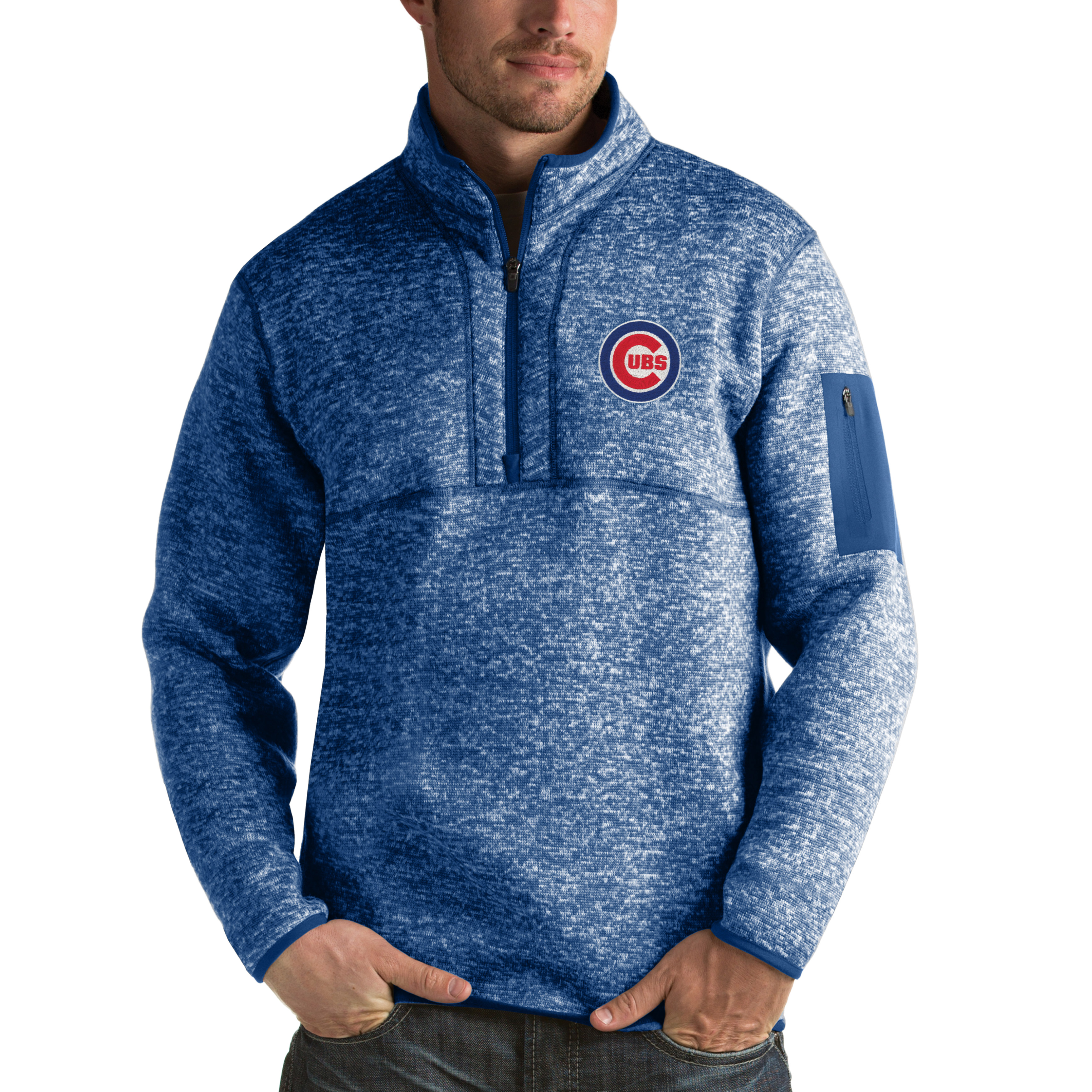 Chicago Cubs Antigua Fortune Half-Zip Sweater - Heathered Royal