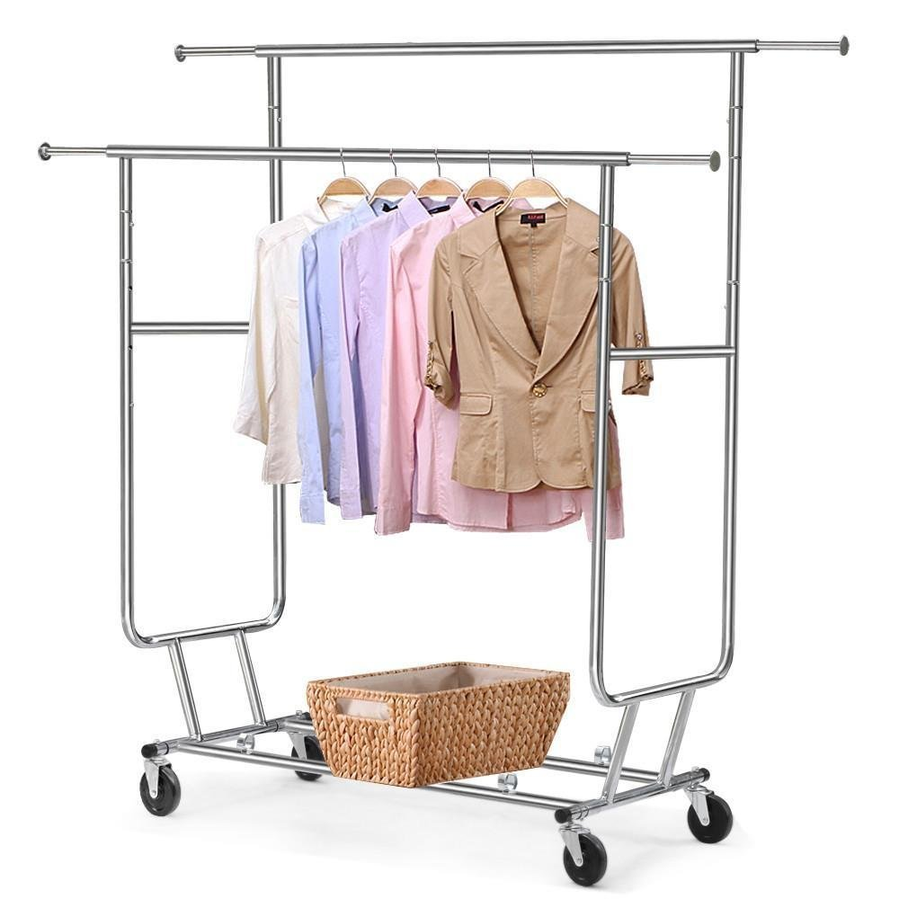 Yaheetech Clothing Rack Rolling Garment Rack Double-Rail Clothing Hanging Rack,Chrome Finish