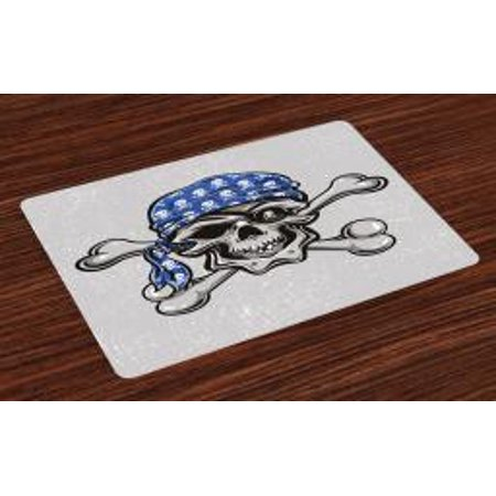 Skull Placemats Set of 4 Scallywag Pirate Dead Head Grunge Horror Icon Evil Sailor Crossed Bones Kerchief, Washable Fabric Place Mats for Dining Room Kitchen Table Decor,Blue Grey Black, by Ambesonne](Pirate Kerchief)