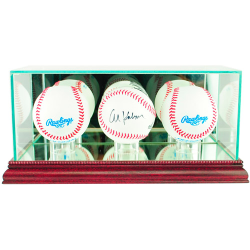 Perfect Cases Triple Baseball Display Case, Cherry Finish