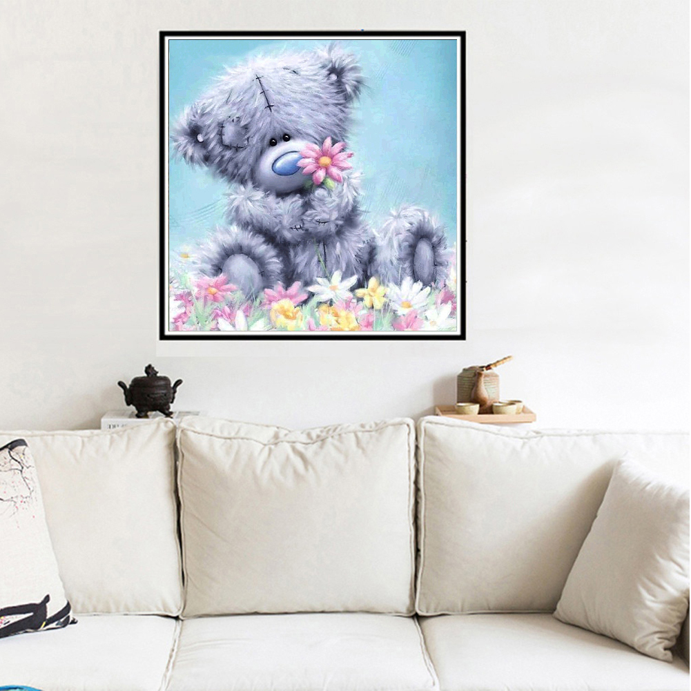 Girl12Queen Cute Bear Doll 5D Diamond Painting Cross Stitch Kit DIY Wall Craft Bedroom Decor