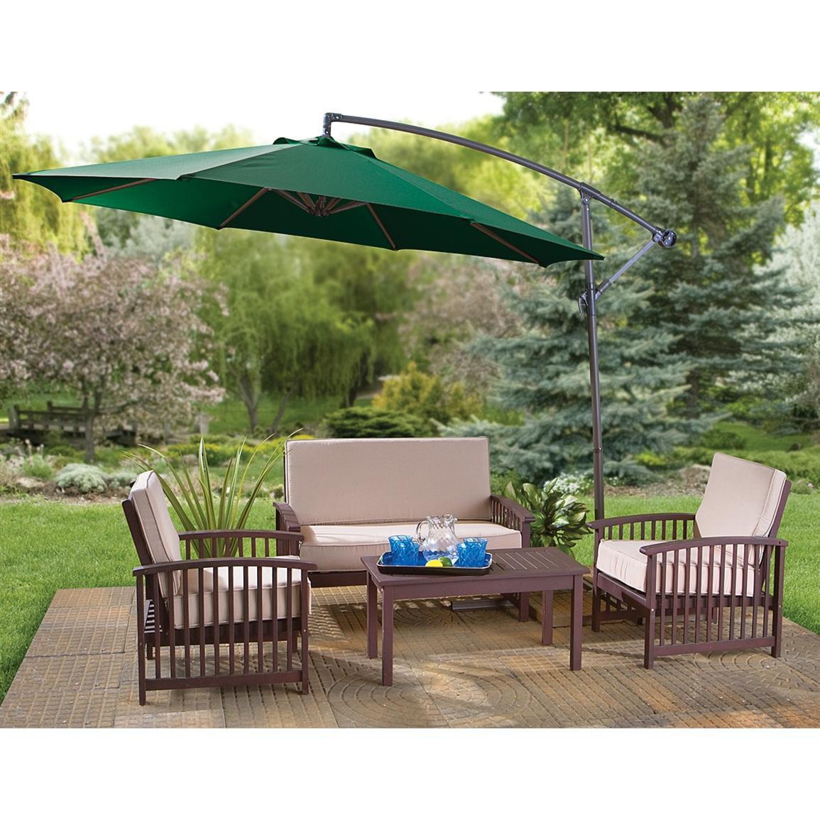 Belleze Premium Outdoor Patio Umbrella 10' Aluminum Cantilever Market Poly Tilt Hand Crank & Base, Beige