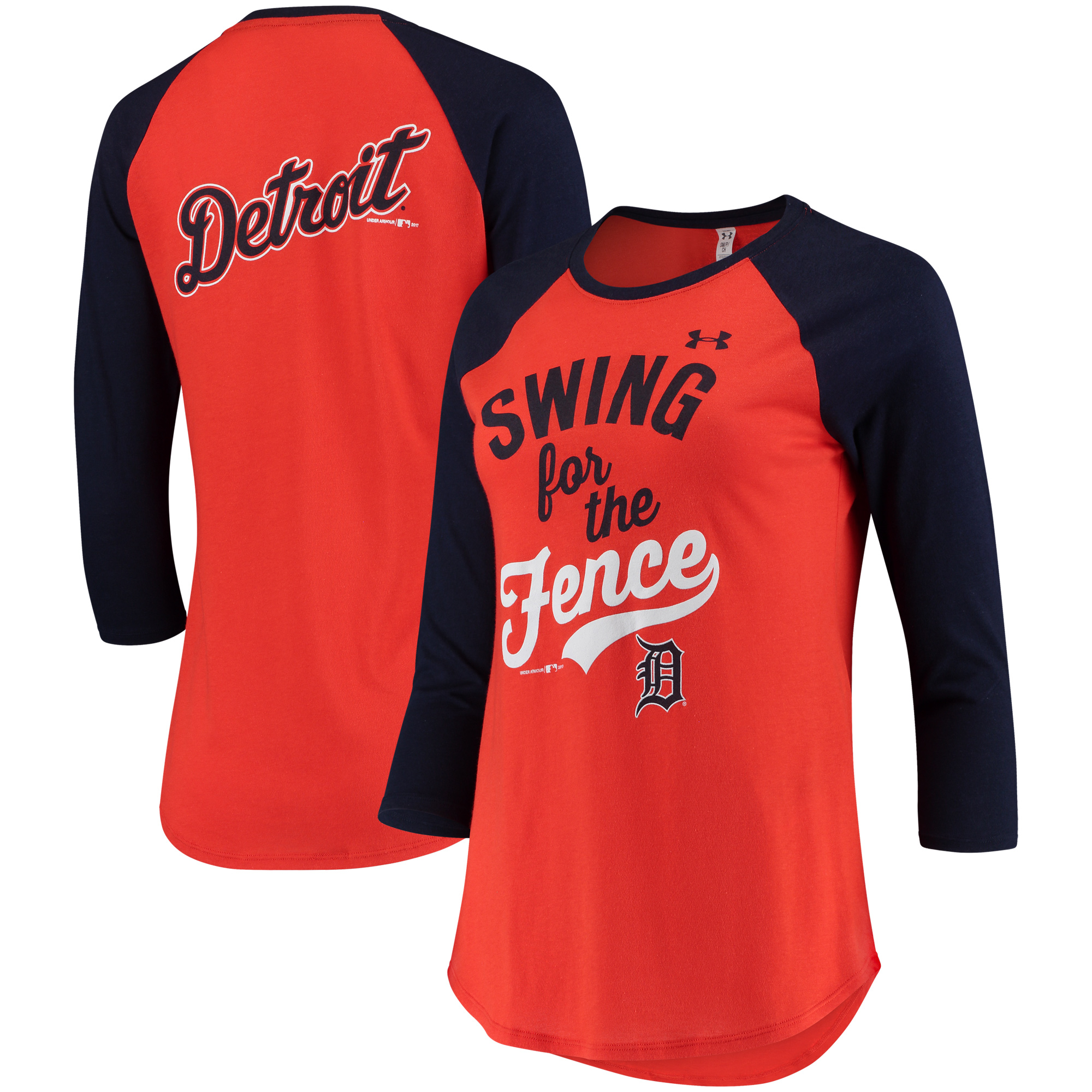 Detroit Tigers Under Armour Women's Baseball 3/4-Sleeve T-Shirt - Orange