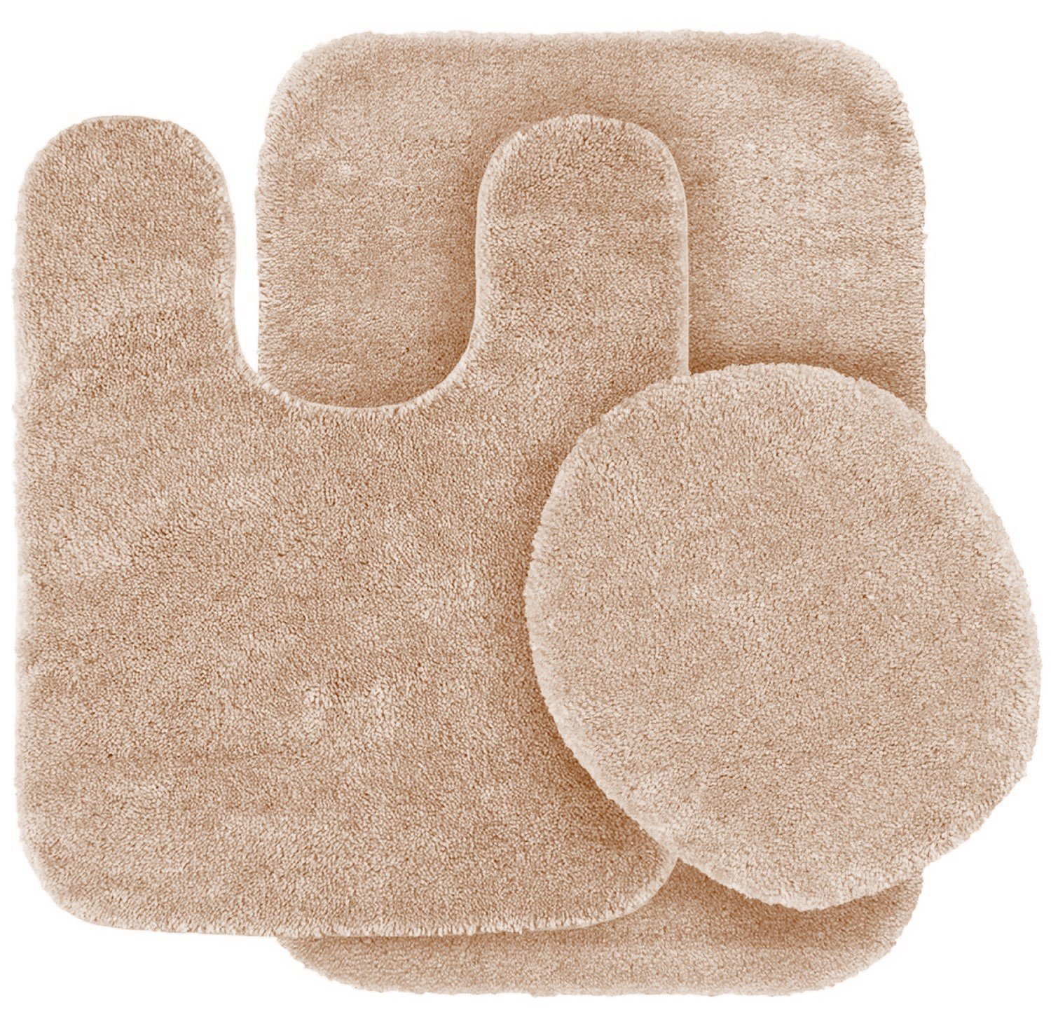 3 Pc TAUPE Bathroom Set Bath Mat RUG, Contour, and Toilet Lid Cover, with Rubber Backing #6