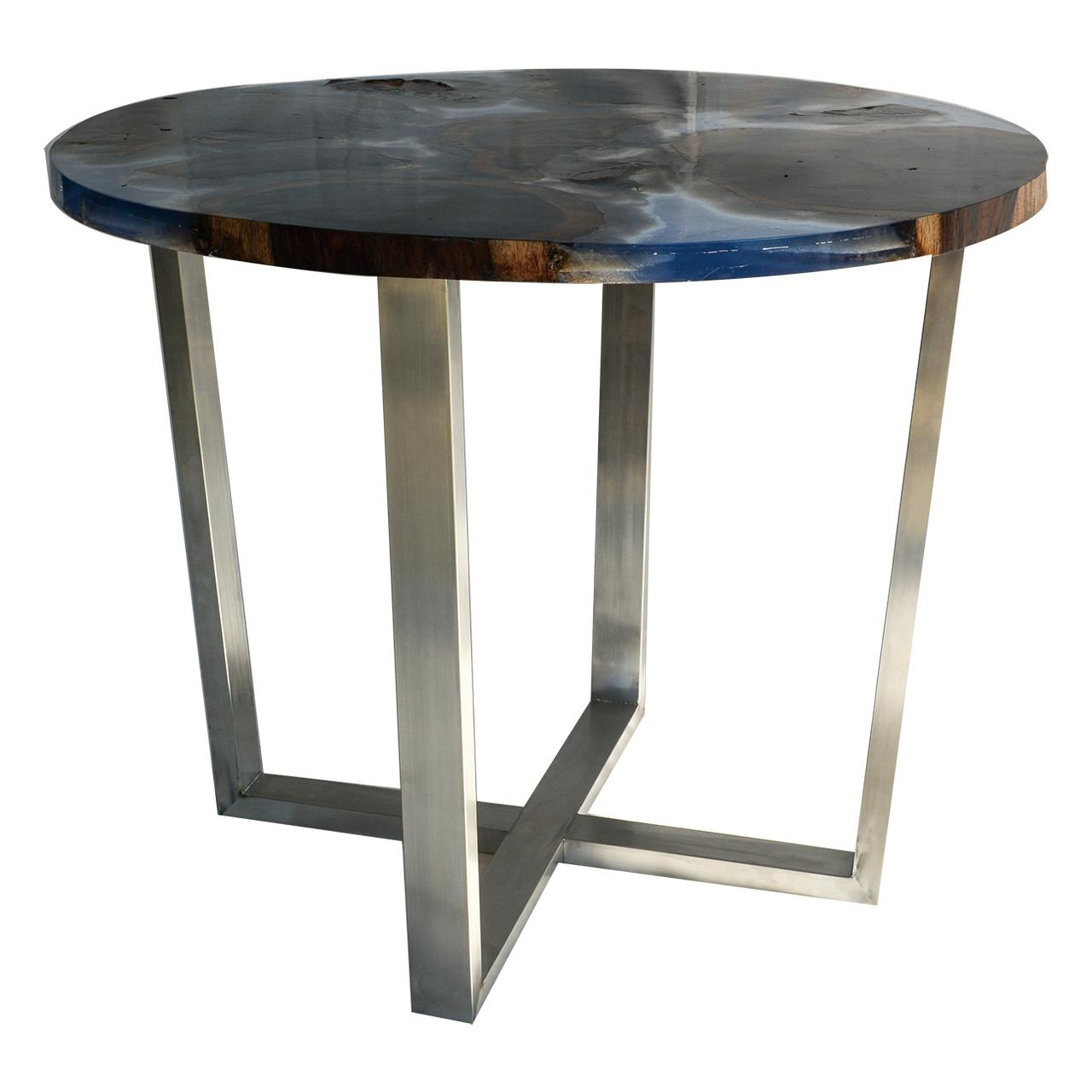 Au0026B Home Round Wood Tall Coffee Table With Blue Resin And Steel Legs