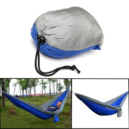 Portable Nylon Outdoor Camping Swing fabrichammock Fabric Hammock 2 Persons Travel Hanging Bed-Blue