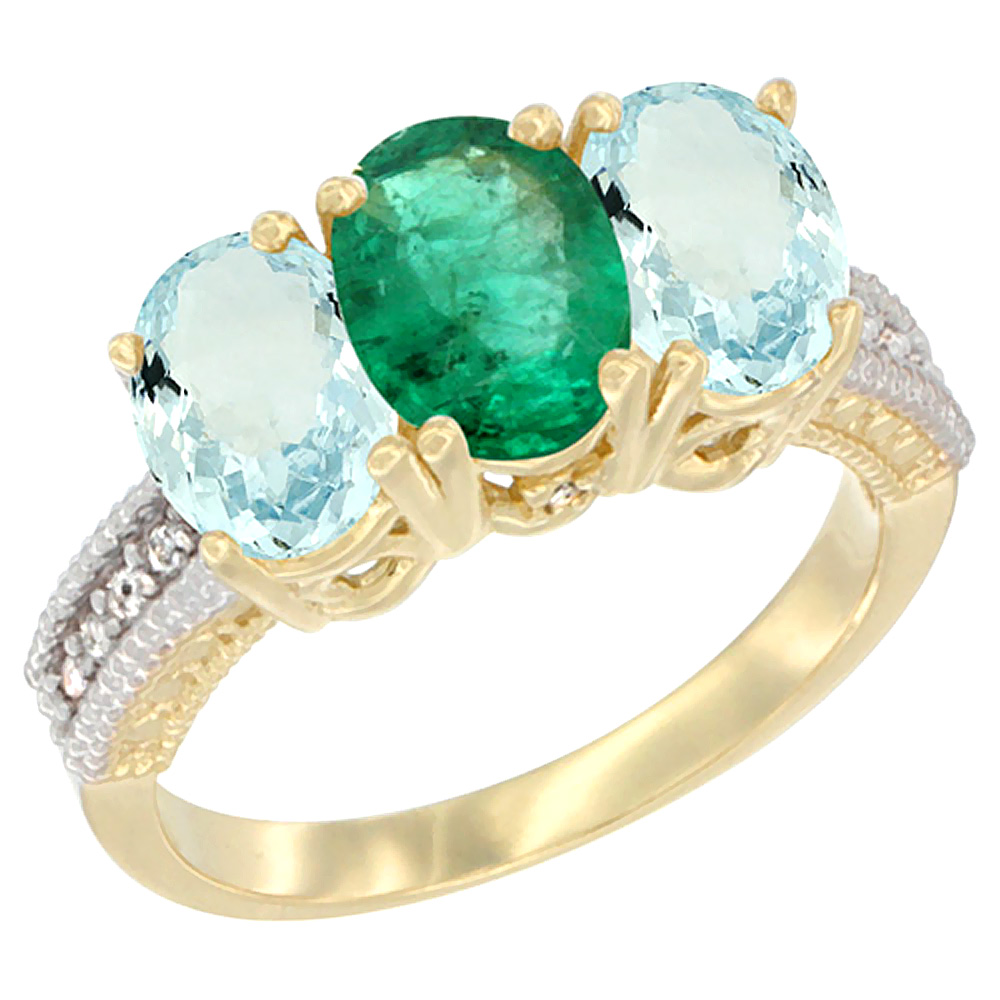 10K Yellow Gold Natural Emerald & Aquamarine Ring 3-Stone Oval 7x5 mm, sizes 5 10 by WorldJewels