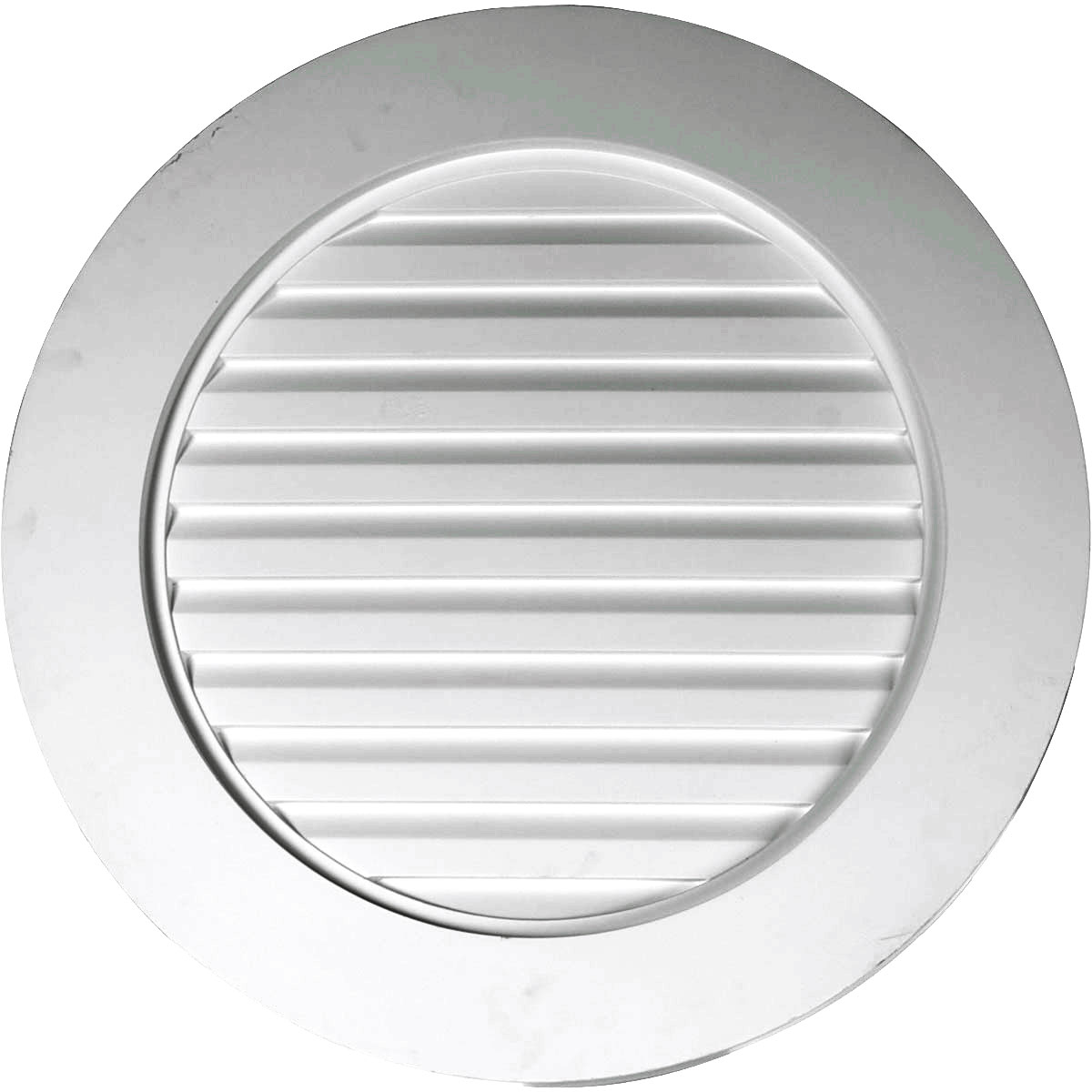 "27""W x 27""H x 1 5/8""P, Plain Round Gable Vent Louver, w/ Wide Trim, Non-Functional"