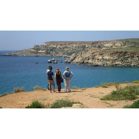 Canvas Print Sea Malta Cliffs Tourists Rocks Coast Gnejna Bay Stretched Canvas 10 x 14