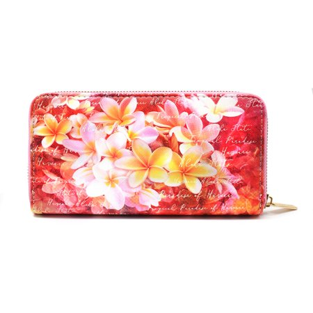 Hard case zip around multiple slots zipped pocket inside Hawaiian Print Wallet in Pink Plumeria