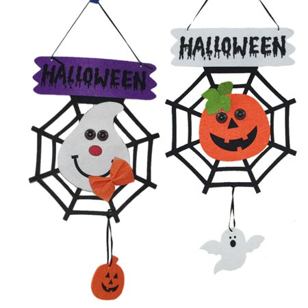 2PCS Halloween Hanging Tag Pumpkin Ghost Spider Web Decoration for Home Door Window Bar Shopping Malls Company Party