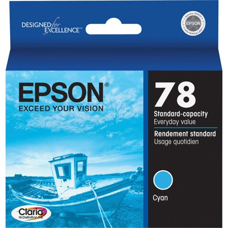 Epson, EPST078220S, Claria T078220 Cyan Ink Cartridge, 1 Each Ink cartridge is designed for use with Epson Stylus Photo RX580, R260, R280, R380, RX595 and RX680 and Artisan 50. Claria Hi-Definition Inks provide true-to-life colors for printing your best shots. Quick-drying Claria inks make handling photos, worry-free, for sharing. Cartridge delivers durable photos that are smudge-resistant, scratch-resistant, water-resistant and fade-resistant.Epson Claria Original Ink Cartridge, 1 Each (Quantity)