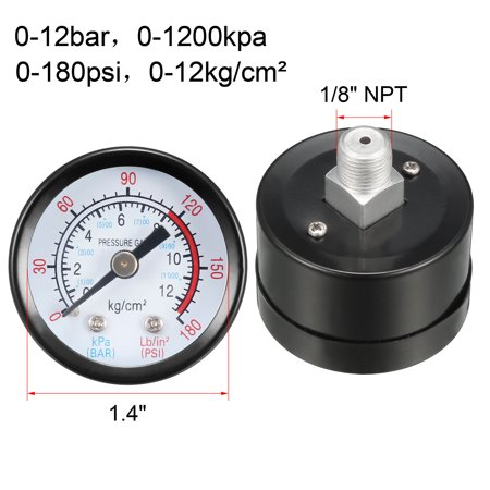"""Pressure Gauge , 0-180 Psi/0-12 Bar Dual Scale , 1.4"""" Dial Display , 1/8"""" NPT Male Center Back Mount , with Aluminium Al - image 3 of 4"""