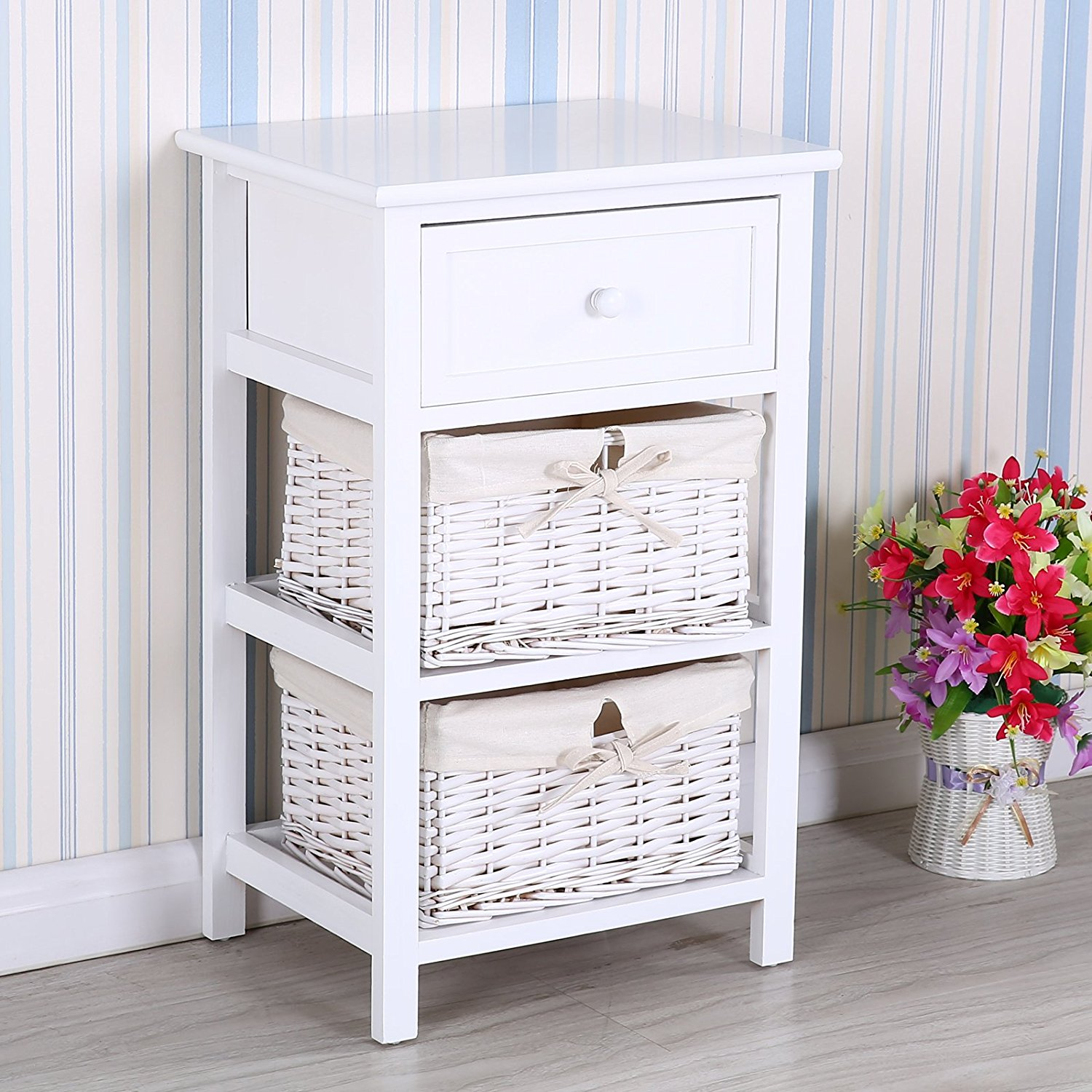 Mecor Retro White Shabby Chic Nightstand End Side Bedside Table w/Wicker Storage Wood