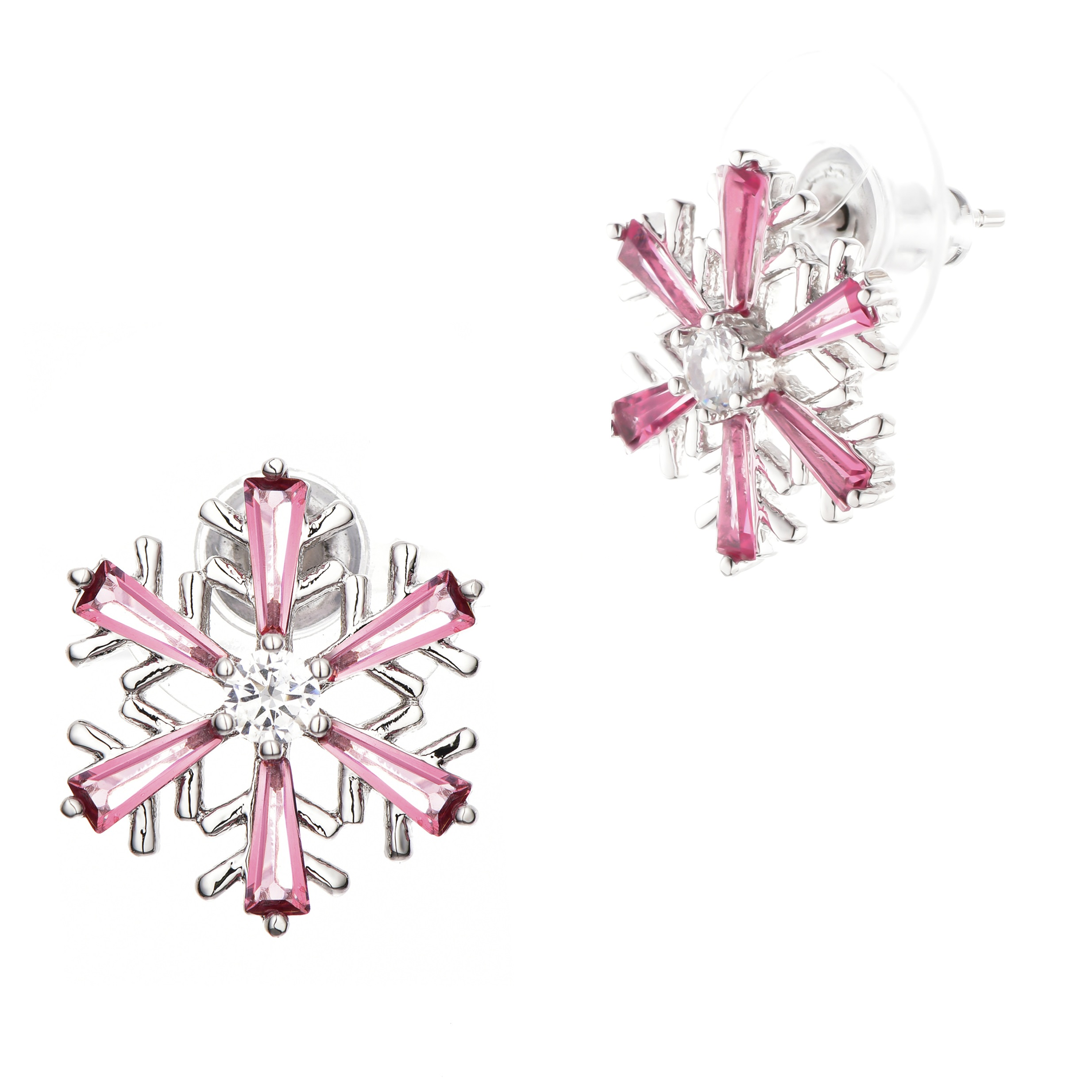 Buyless Fashion Girls Christmas Snowflake Stud Earrings Hypoallergenic Steel