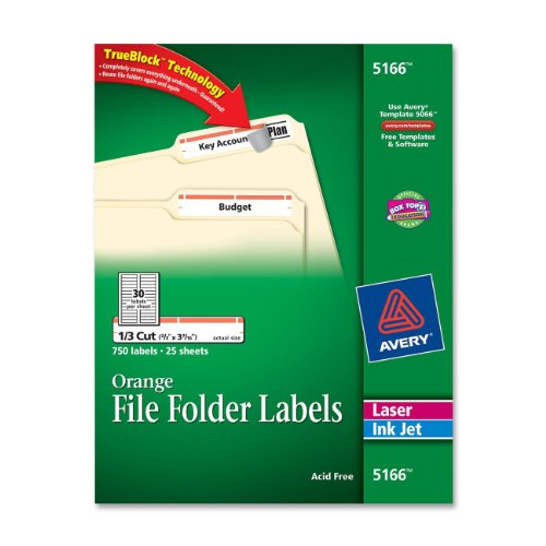 "Avery Filing Label - 0.33"" Length - 750 / Pack - Rectangle - Laser, Inkjet - Orange (AVE5166)"
